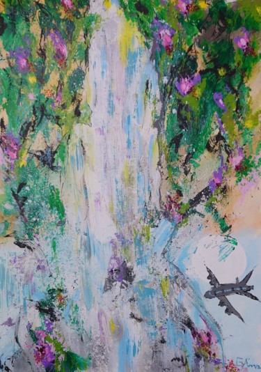 Airplane Painting, acrylic, expressionism, artwork by Ana Maria Guta