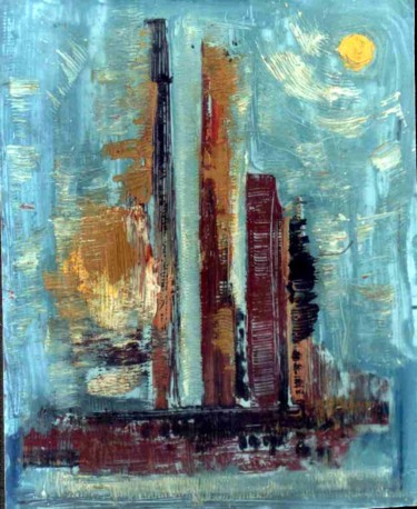 """Painting titled """"CITY ABSTRACTION,OI…"""" by Anandswaroop Manchiraju, Original Art, Oil"""