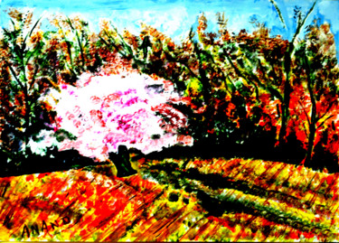 Nature Painting, acrylic, abstract, artwork by Anandswaroop Manchiraju