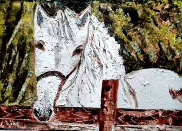 """Painting titled """"DIVINE HORSE"""" by Anandswaroop Manchiraju, Original Art, Oil"""