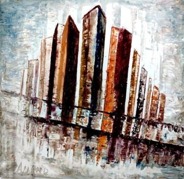 """Painting titled """"URBAN BEAUTY"""" by Anandswaroop Manchiraju, Original Art, Oil"""