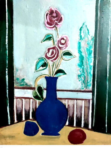 """Painting titled """"STILL-LIFE-8"""" by Anandswaroop Manchiraju, Original Art, Oil"""