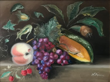 """Painting titled """"Melon&Rasbberry"""" by Anastasia Terskih, Original Art, Oil Mounted on Stretcher frame"""