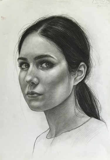Portrait Drawing, graphite, figurative, artwork by Anastasia Terskih