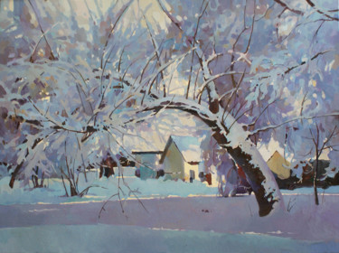 """Painting titled """"In January"""" by Анастасия Ярошевич, Original Art, Oil Mounted on Stretcher frame"""