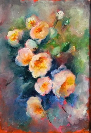 """Painting titled """"Flowers painting"""" by Anatoly Khmelevsky, Original Art, Oil"""