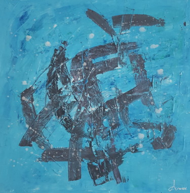 """Painting titled """"Abstract - Blue"""" by Ana Vdv, Original Art, Acrylic Mounted on Stretcher frame"""