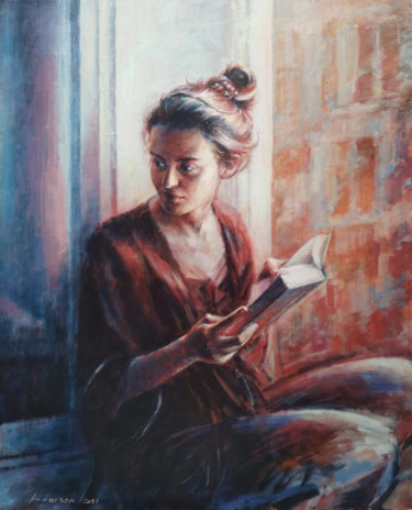 """Painting titled """"Girl at the window"""" by Robert Andersen, Original Art, Oil"""