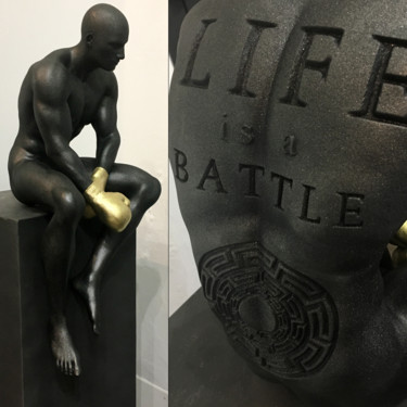 """Sculpture titled """"Life is a battle"""" by Andrea Giorgi, Original Art, Resin"""