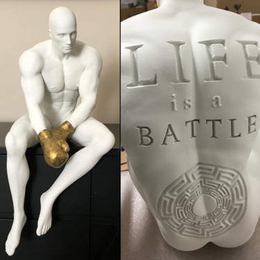 """Sculpture titled """"LIFE IS A BATTLE  (…"""" by Andrea Giorgi, Original Art, Resin"""