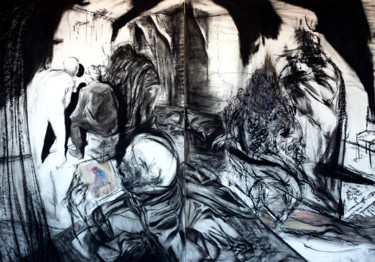 """Drawing titled """"Dove l'ombra insorge"""" by Andrea Bolognino, Original Art, Charcoal"""
