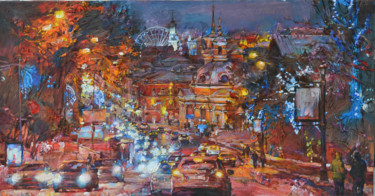 """Painting titled """"Lights of sity, win…"""" by Андрей Куцаченко, Original Art, Oil Mounted on Stretcher frame"""
