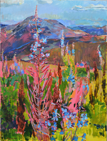 """Painting titled """"Blooming sally"""" by Андрей Куцаченко, Original Art, Oil Mounted on Stretcher frame"""