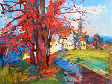 """Painting titled """"Spring landscape, t…"""" by Андрей Куцаченко, Original Art, Oil Mounted on Stretcher frame"""