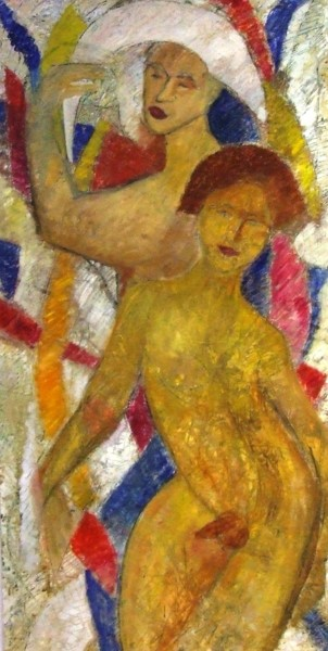 """Painting titled """"Arlequin and servant"""" by Da Luz, Original Art, Oil"""