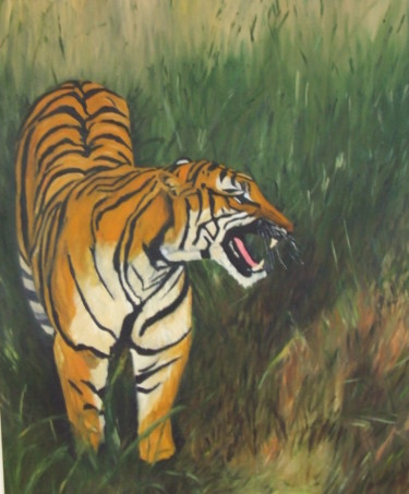 """Painting titled """"Tiger Mountain"""" by Da Luz, Original Art, Oil Mounted on Stretcher frame"""
