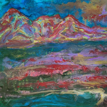 Mountainscape Painting, acrylic, abstract, artwork by Andrew Walaszek
