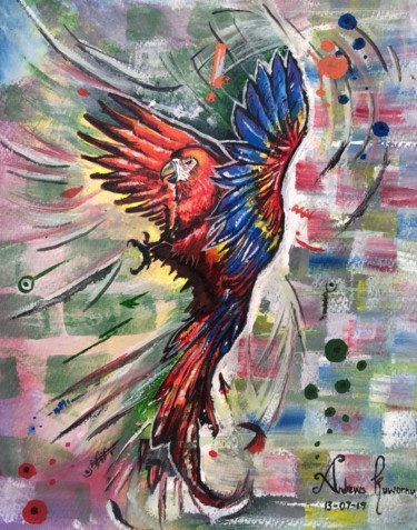 """Painting titled """"Parrot"""" by Andrews, Original Art, Acrylic"""