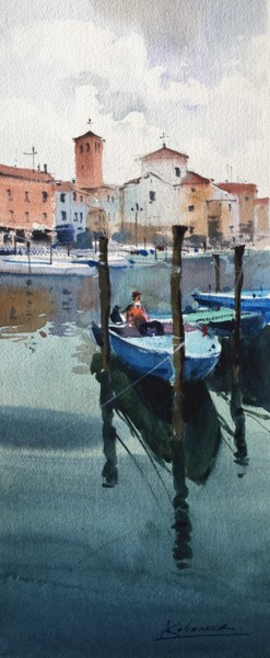 """Painting titled """"Boats. Chioggia cit…"""" by Andrii Kovalyk, Original Art, Watercolor"""