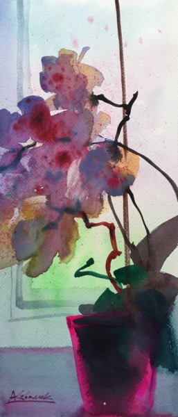 """Painting titled """"Flowers Fantasy"""" by Andrii Kovalyk, Original Art, Watercolor"""