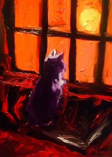 """Painting titled """"The Cat"""" by Angel Abregu, Original Art, Oil"""