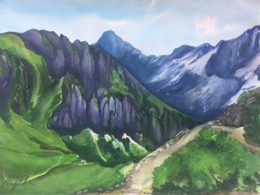 """Painting titled """"Bavarian Alps"""" by Angela, Original Art, Watercolor"""