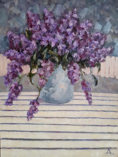 """Painting titled """"Lilac bouquet"""" by Angelia Lasnaia, Original Art, Oil"""