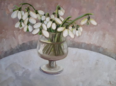 """Painting titled """"Wall Art Snowdrops"""" by Angelia Lasnaia, Original Art, Oil"""