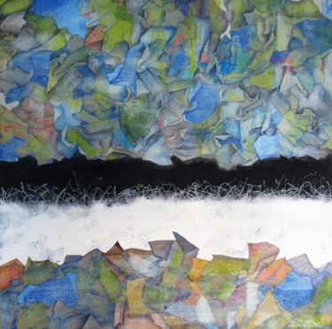"""Painting titled """"Infinity"""" by Angelo D'Amato, Original Art, Conté Mounted on Wood Panel"""