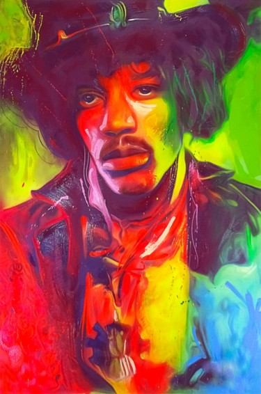 """Painting titled """"Hendrix"""" by Angelo, Original Art, Oil"""