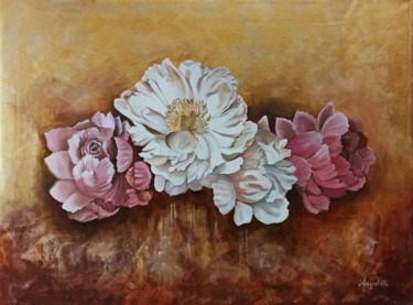 Flower Painting, oil, figurative, artwork by Anna Rita Angiolelli