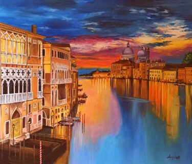 """Painting titled """"Riflessi sul Canal…"""" by Anna Rita Angiolelli, Original Art, Oil Mounted on Stretcher frame"""