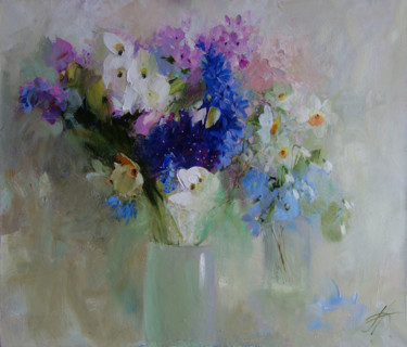 Flower Painting, oil, impressionism, artwork by Galina Anisimova