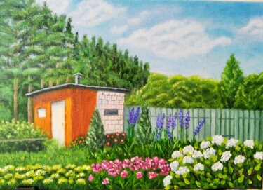 """Painting titled """"House in the forest"""" by Anna Ionova, Original Art, Oil Mounted on Stretcher frame"""