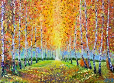 """Painting titled """"Birches alley"""" by Anna Pavlovich, Original Art, Oil"""