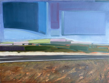 """Painting titled """"HIGHWAY TO THE SEA"""" by Anna Bondar, Original Art, Oil Mounted on Stretcher frame"""