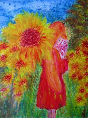 """Painting titled """"Smelling Flowers"""" by Anna Jagla, Original Art, Oil"""