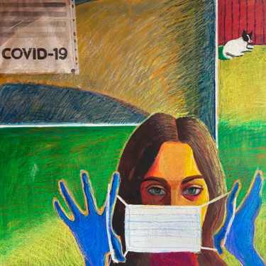 """Painting titled """"Covid-19"""" by Anna Kanfer, Original Art, Collages"""