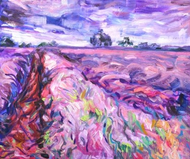 """Painting titled """"Lavender field"""" by Anna Privaloff, Original Art, Oil"""