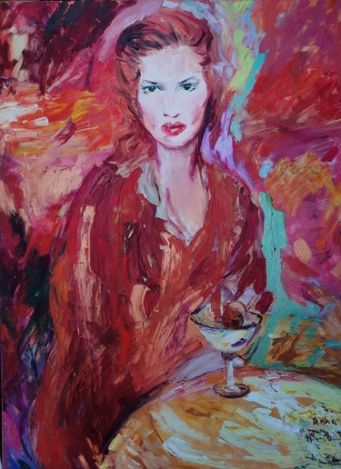 """Painting titled """"The woman in red"""" by Anna Privaloff, Original Art, Oil"""