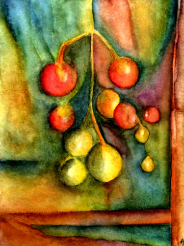 """Painting titled """"Tomates-grappes"""" by Anne Brigaud, Original Art,"""