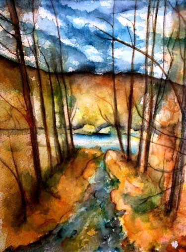 """Painting titled """"Arbres tords"""" by Anne Brigaud, Original Art,"""