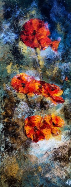 """Painting titled """"Coquelicots #4"""" by Anne Brigaud, Original Art,"""