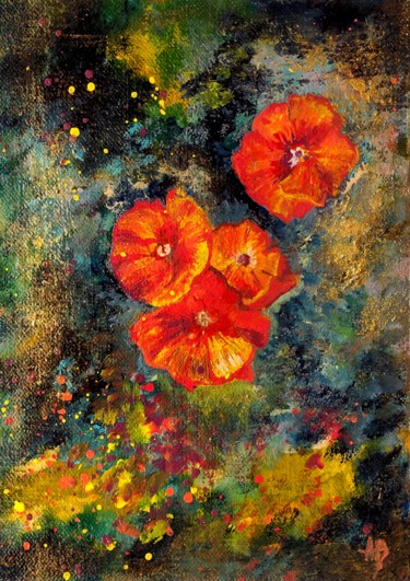 """Painting titled """"Coquelicots #5"""" by Anne Brigaud, Original Art,"""