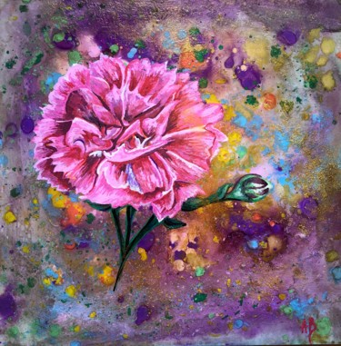 """Painting titled """"Œillet rose"""" by Anne Brigaud, Original Art,"""