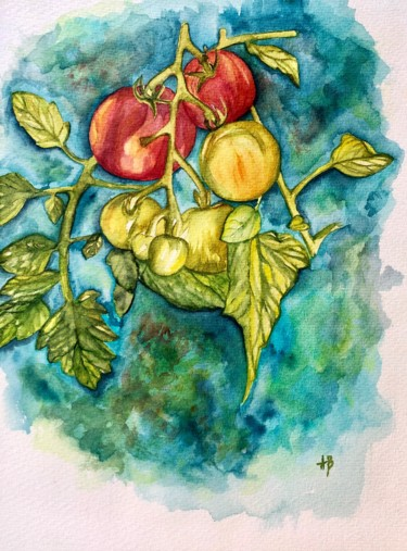 """Painting titled """"Les grappes"""" by Anne Brigaud, Original Art,"""