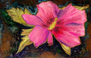 """Painting titled """"Hibiscus rose"""" by Anne Brigaud, Original Art,"""