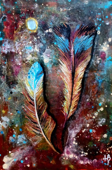 """Painting titled """"Plumes bleues"""" by Anne Brigaud, Original Art,"""