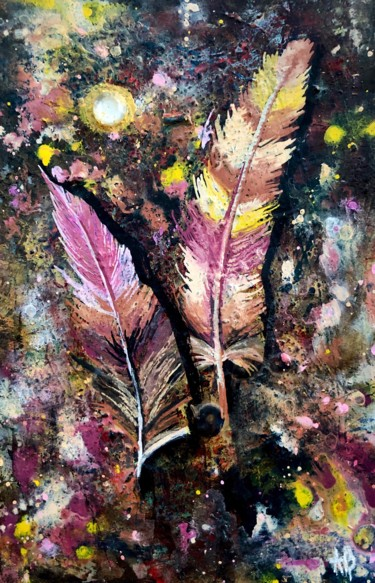 """Painting titled """"Plumes roses"""" by Anne Brigaud, Original Art,"""