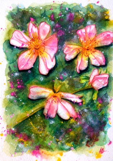 """Painting titled """"Fleurs sauvages ros…"""" by Anne Brigaud, Original Art,"""